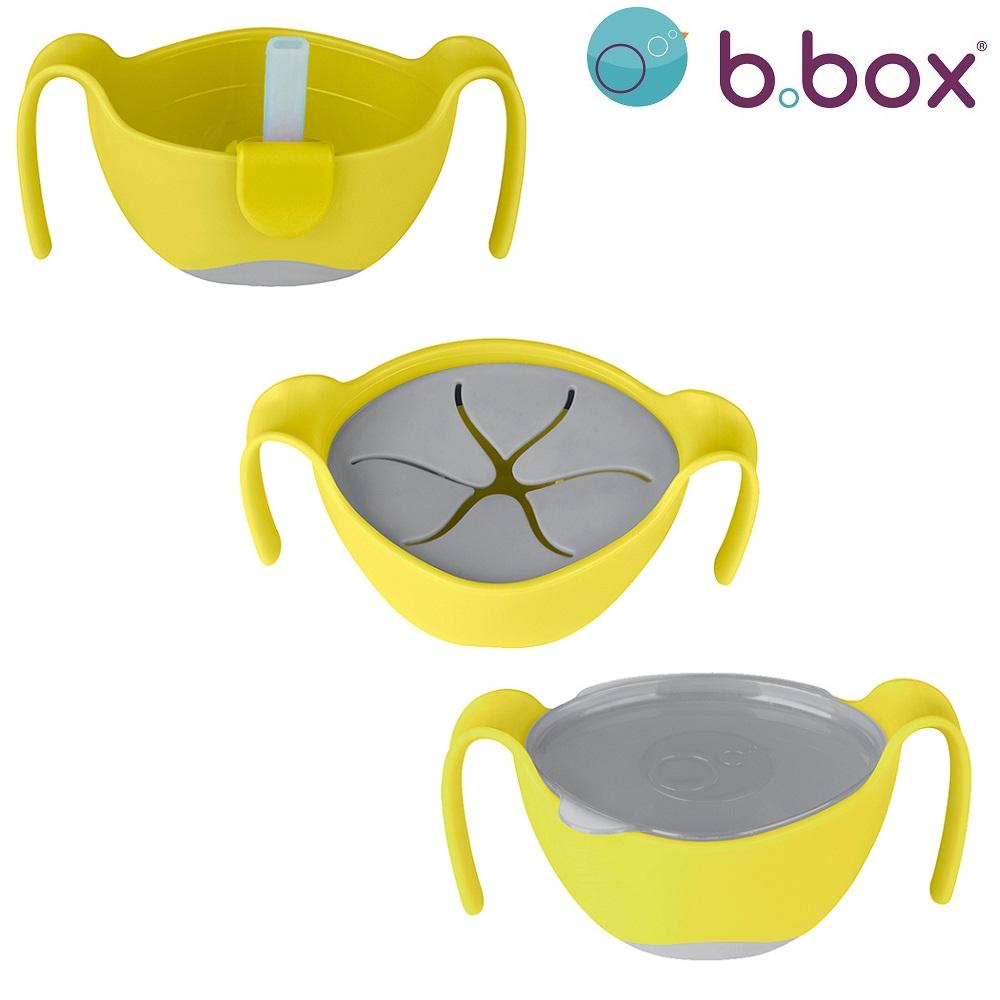 Multifunktionel madskål til børn B.box Bowl and Straw Lemon Sherbet