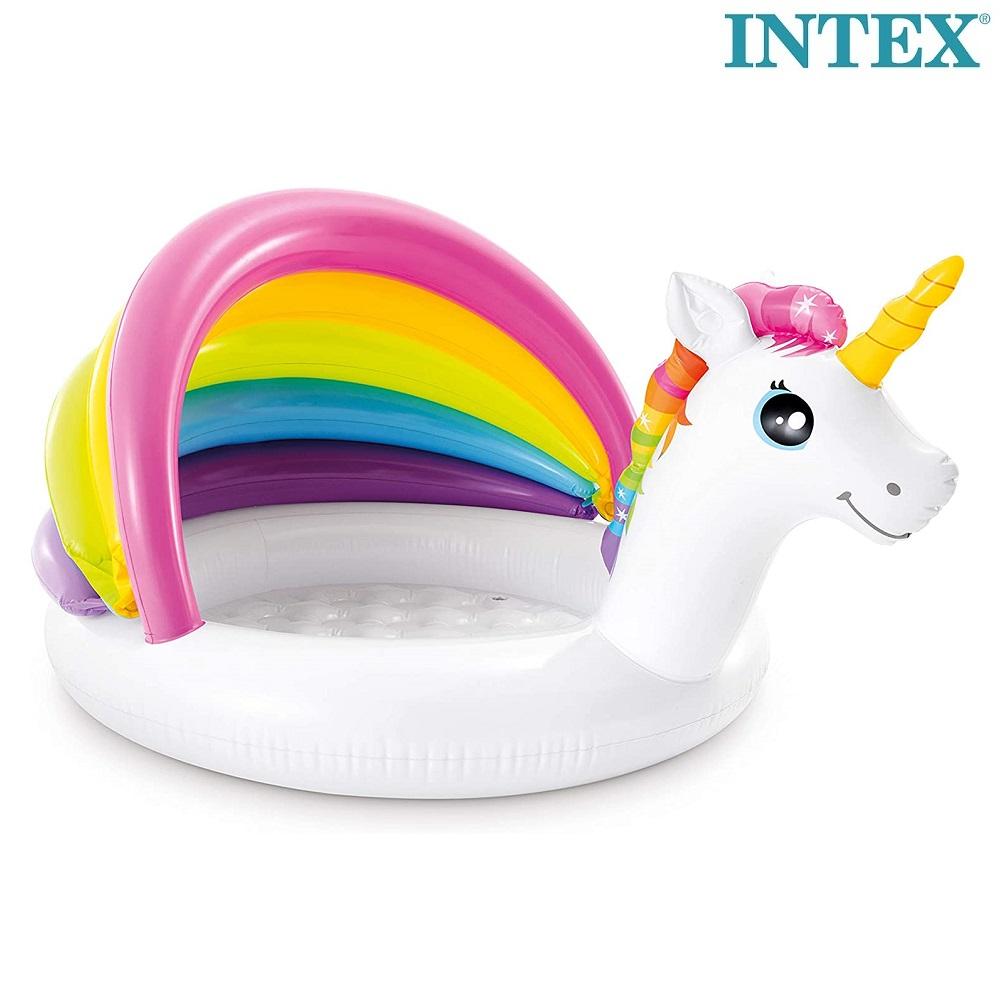 Oppustelig badebassin med solbeskyttelse Intex Unicorn