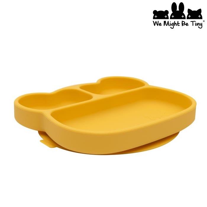 Børnetallerken i silikone We Might be Tiny gul