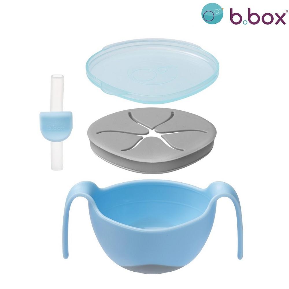 Madskål til børn B.box Bowl and Straw Bubblebum blå