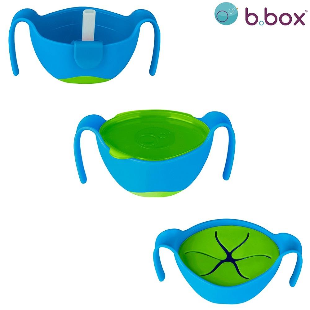 Madskål til børn B.box Bowl and Straw Ocean Breeze blå og grøn