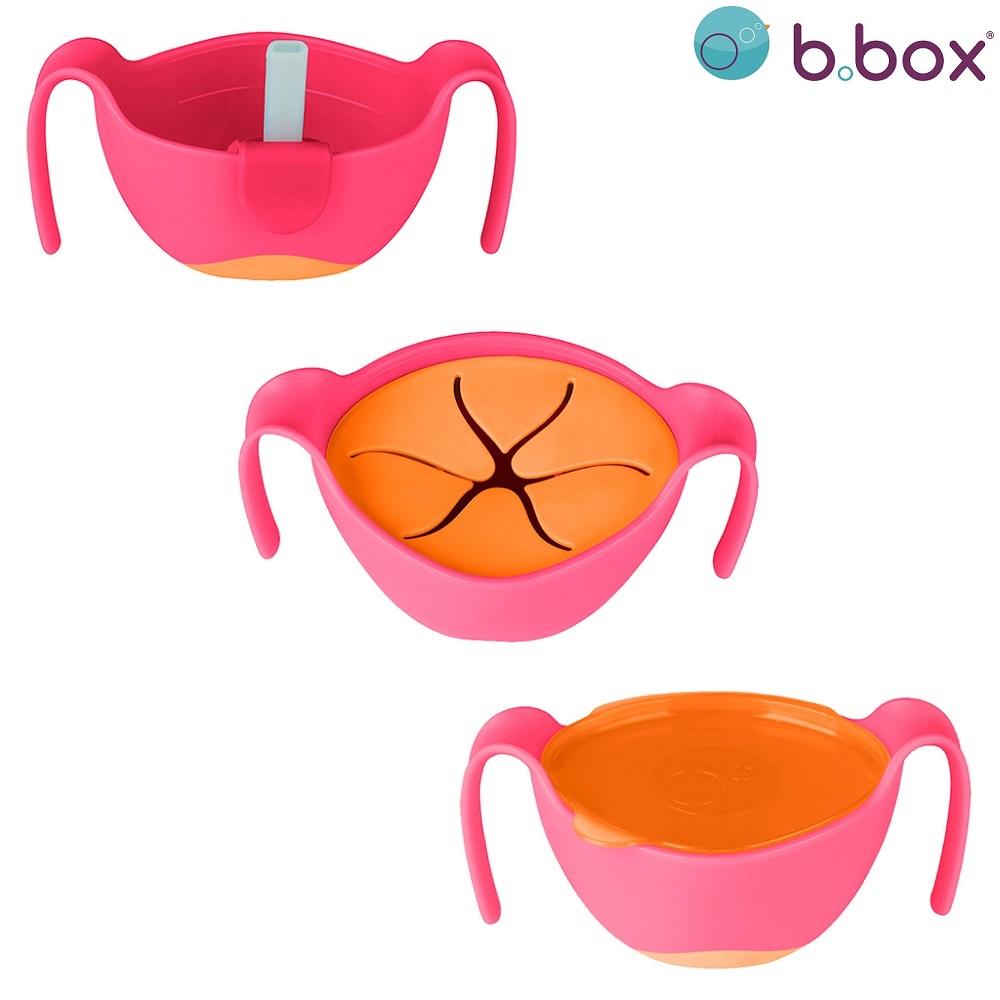 Madskål til børn B.box Bowl and Straw Strawberry Shake lyserød