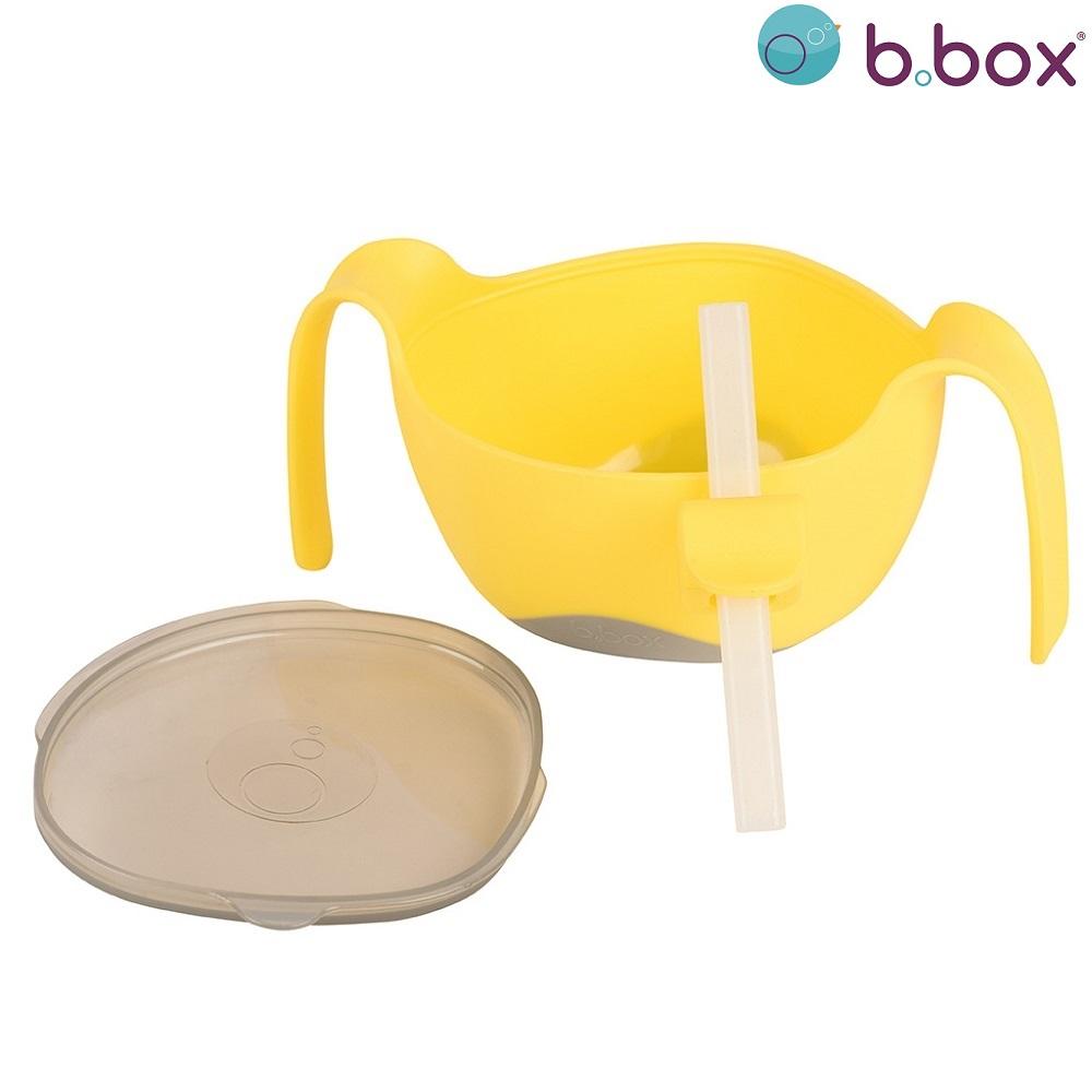 Madskål til børn B.box Bowl and Straw XL Lemon Sherbet gul