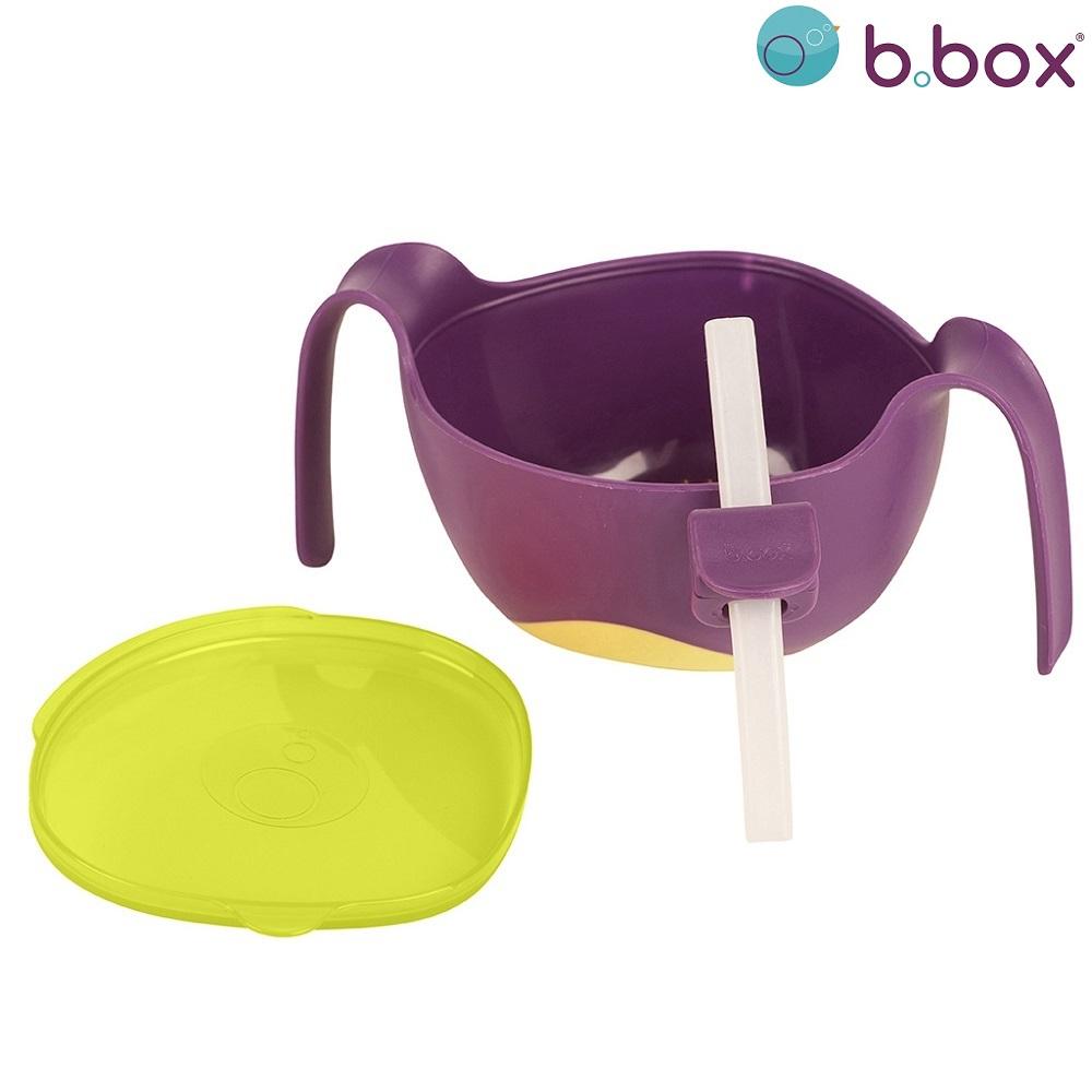 Madskål til børn B.box Bowl and Straw XL Passion Splash