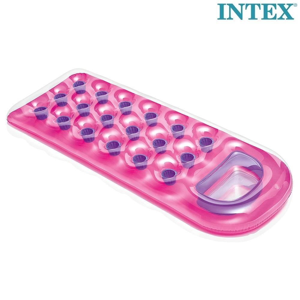 Oppustelig bademadras med vindue Intex Pink