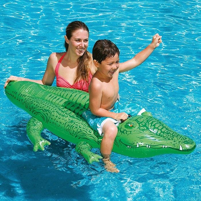 Oppustelig poollegetøj Intex Ride-on Alligator XL