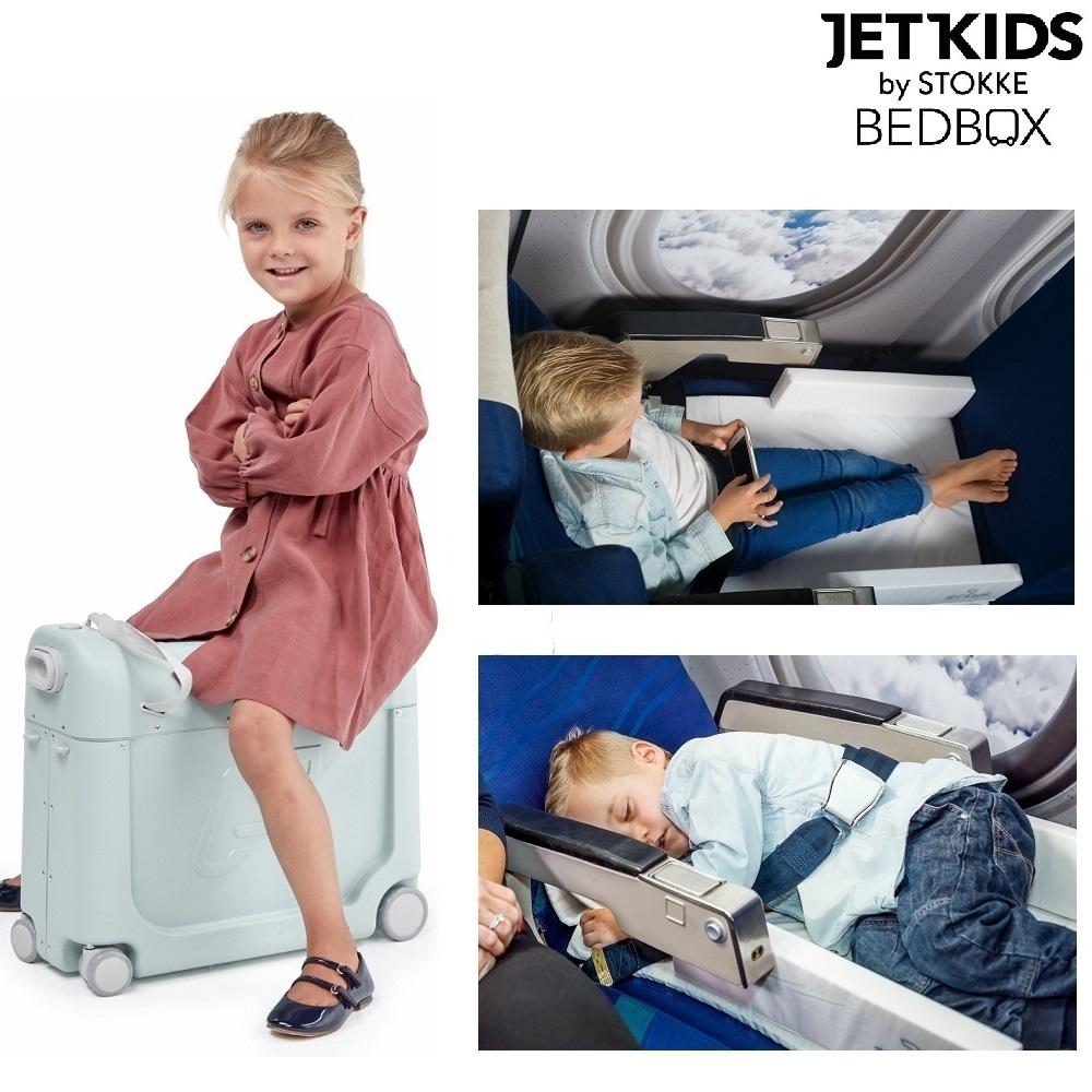 Flyseng og kuffert Jetkids BedBox lysegrøn