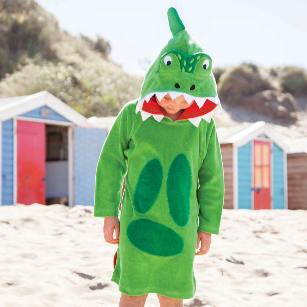 Badeponcho til børn Jojo Maman Bébé Green Dino
