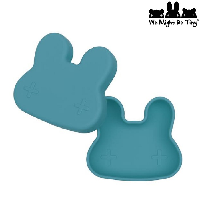 Børnetallerken og madkasse i silikone We Might be Tiny Blue Dusk