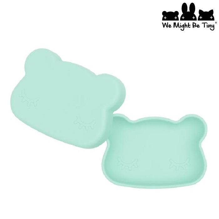 Børnetallerken og madkasse i silikone We Might be Tiny Mint