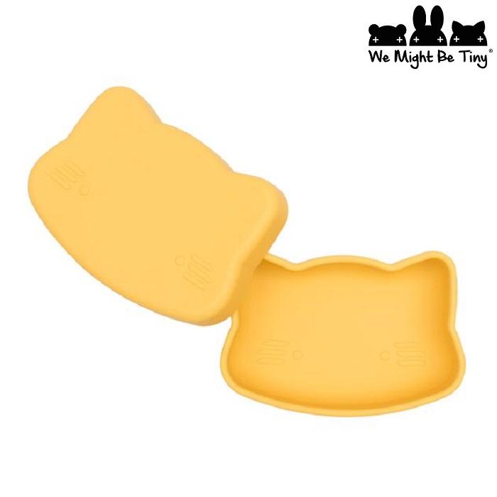 Børnetallerken og madkasse i silikone We Might be Tiny gul