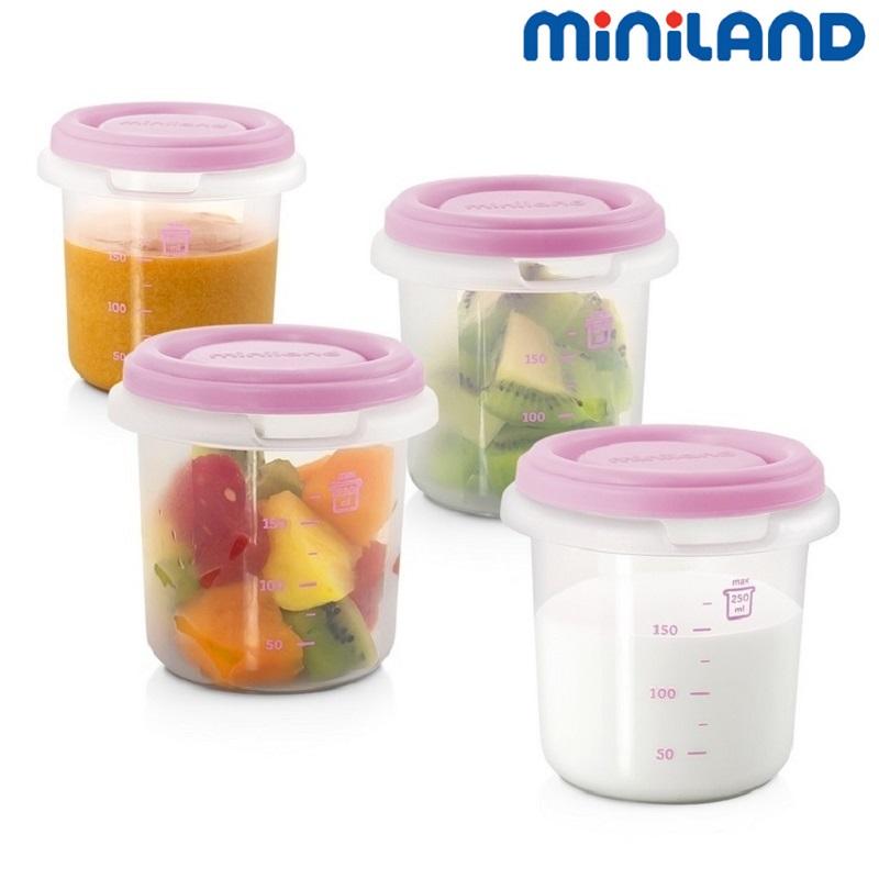Madkasse til børn Miniland madbægre (4 stk.) Hermisized lyserød