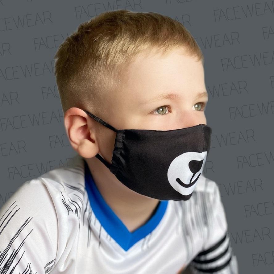 Mundbind til børn Facewear Bear sort