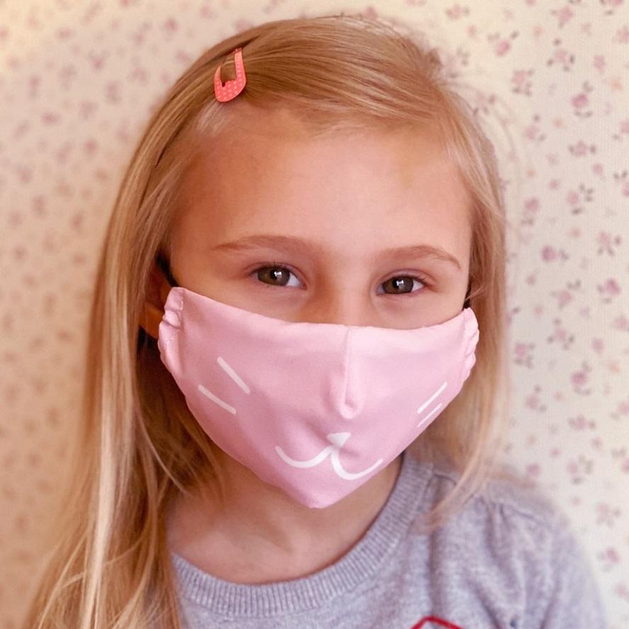 Mundbind til børn Facewear Cat lyserød