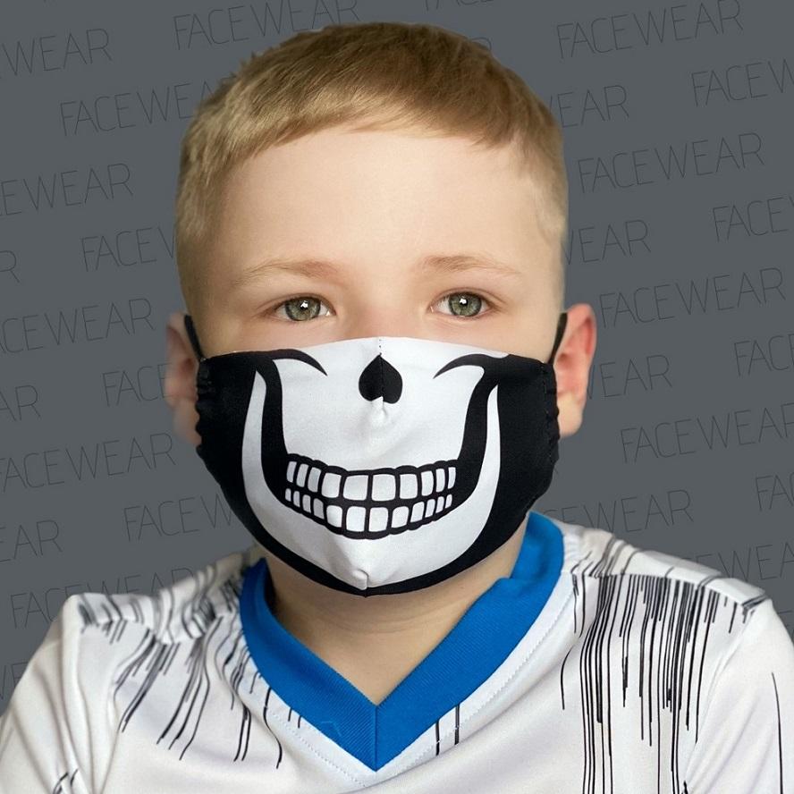 Mundbind til børn Facewear Skull sort