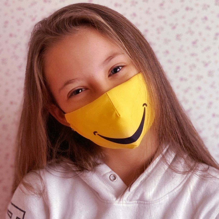Mundbind til børn Facewear Smile gul