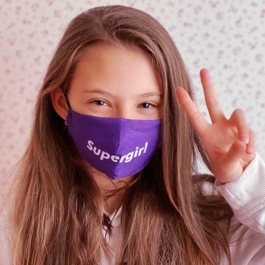 Mundbind til børn Facewear Supergirl lilla