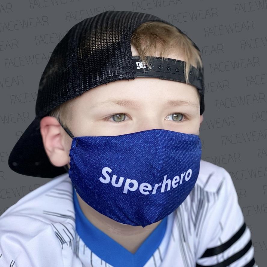 Mundbind til børn Facewear Superhero blå