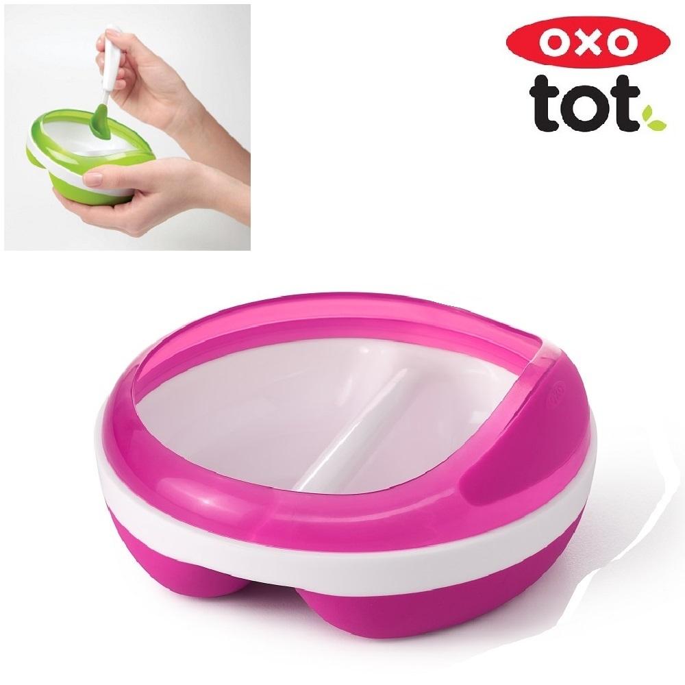 Børnetallerken OXO Tot Divided Feeding Plate lyserød