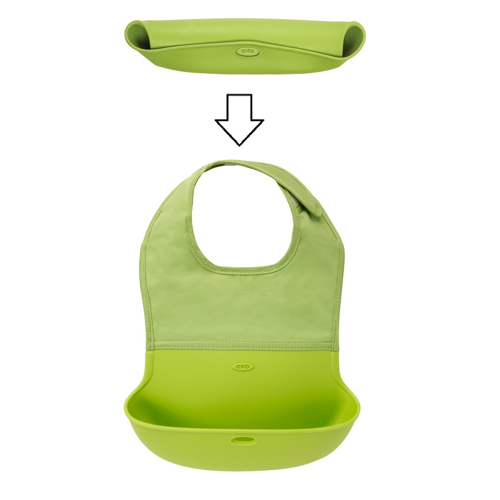 Haklapp i silikon OXO-Tot Roll Up Bib grön