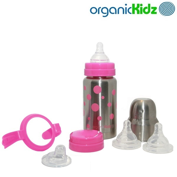 Termoflaske og rustfri sutteflaske OrganicKidz Baby Grows Up Pink Dots