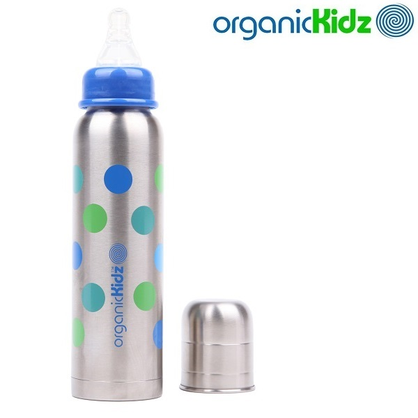 Termoflaske og rustfri sutteflaske OrganicKidz Dots