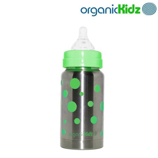 Termoflaske og rustfri sutteflaske OrganicKidz Green Dots