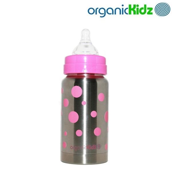 Termoflaske og rustfri sutteflaske OrganicKidz Pink Dots