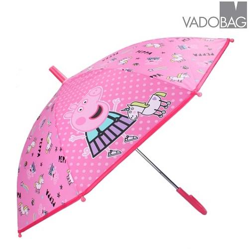 Paraply til børn Peppa Pig Don´t Worry About Rain lyserød