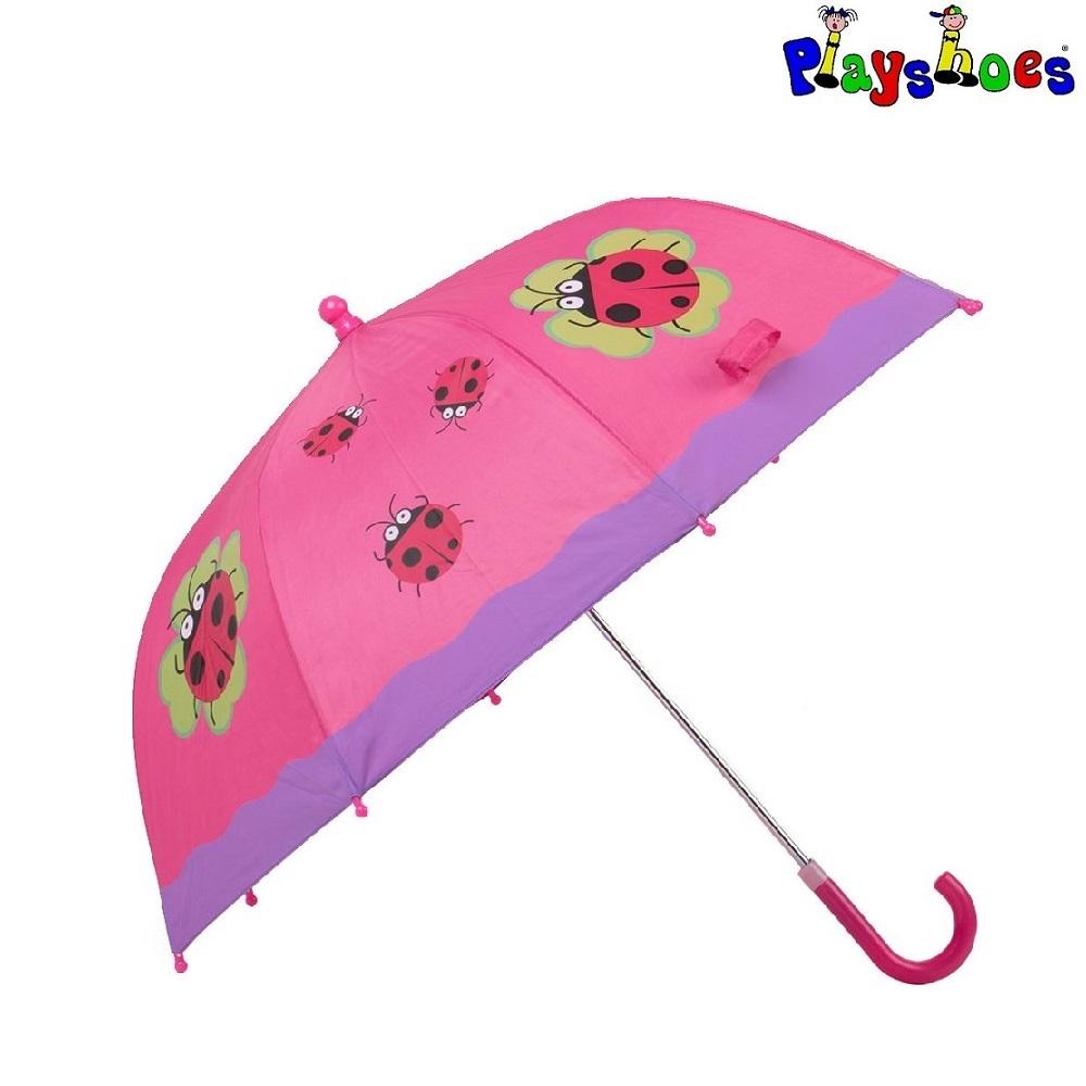 Børneparaply Playshoes Mariehøne lyserød