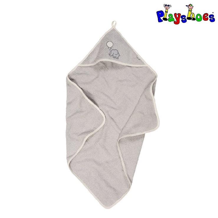 Baby badehåndklæde med hætte Playshoes Grey Elephant