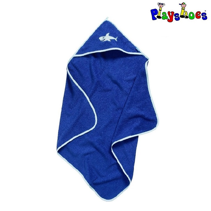 Baby badehåndklæde med hætte Playshoes Shark blå