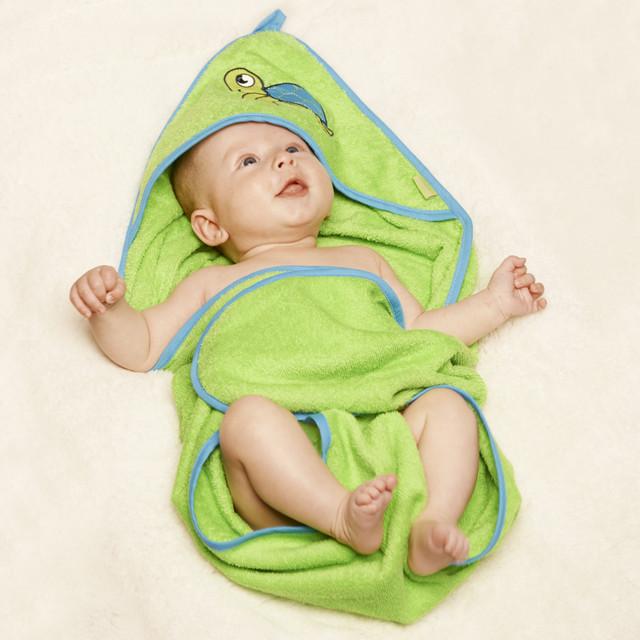 Baby badehåndklæde med hætte Playshoes Turtle grøn