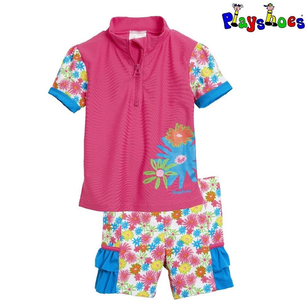 UV trøje og UV shorts til børn Playshoes Blomster