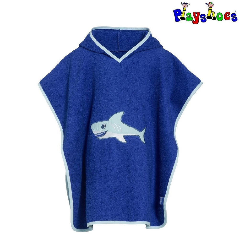 Badeponcho til børn Playshoes Shark blå