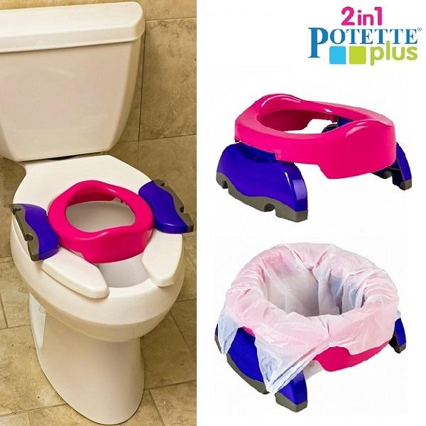Rejsepotte og toiletsæde til børn Potette Plus lyserød og blå
