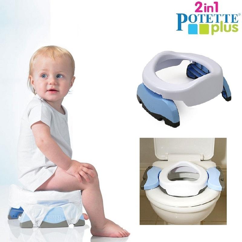 Rejsepotte og toiletsæde til børn Potette Plus hvid og lyseblå