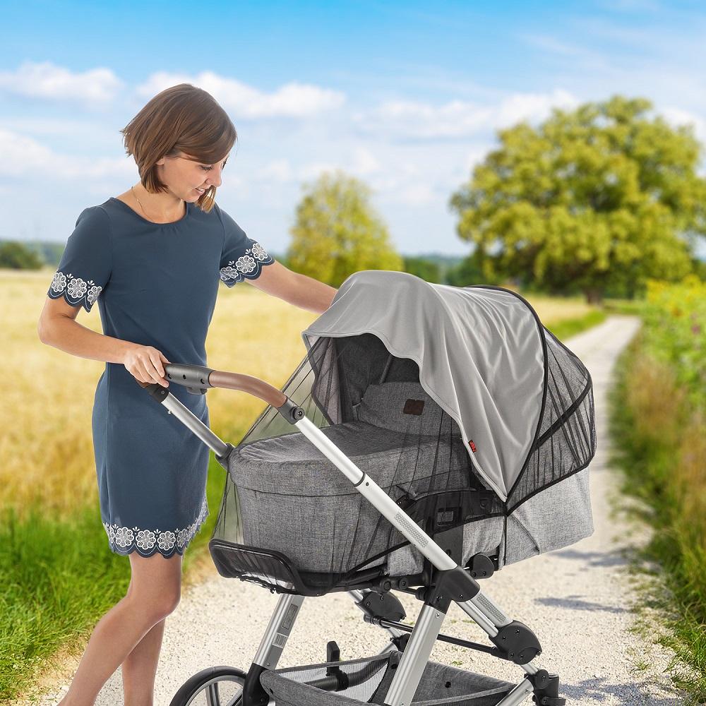 Solsejl og myggenet til barnevogn Reer ShineSafe grå