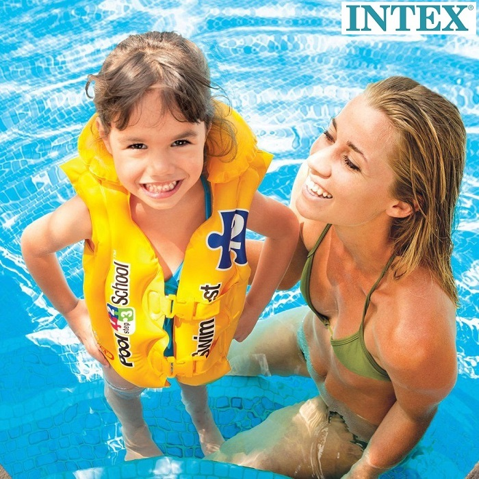 Svømmevest till børn Intex Pool School gul