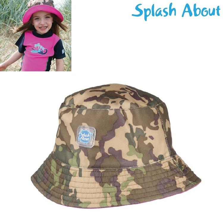 Solhat børn SplashAbout Bucket Camo Pink