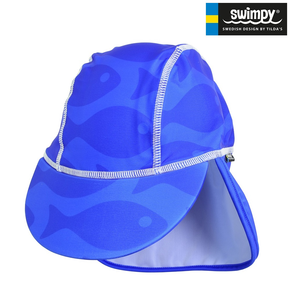 UV solhat børn Swimpy Solid Fish Blue