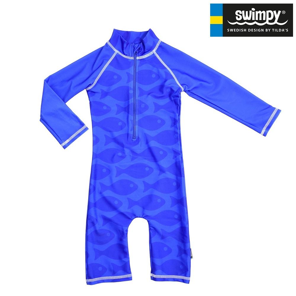 UV-dragt til børn Swimpy Solid Fish Blue