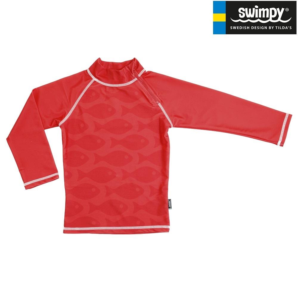 UV-trøje til børn Swimpy Solid Fish Red