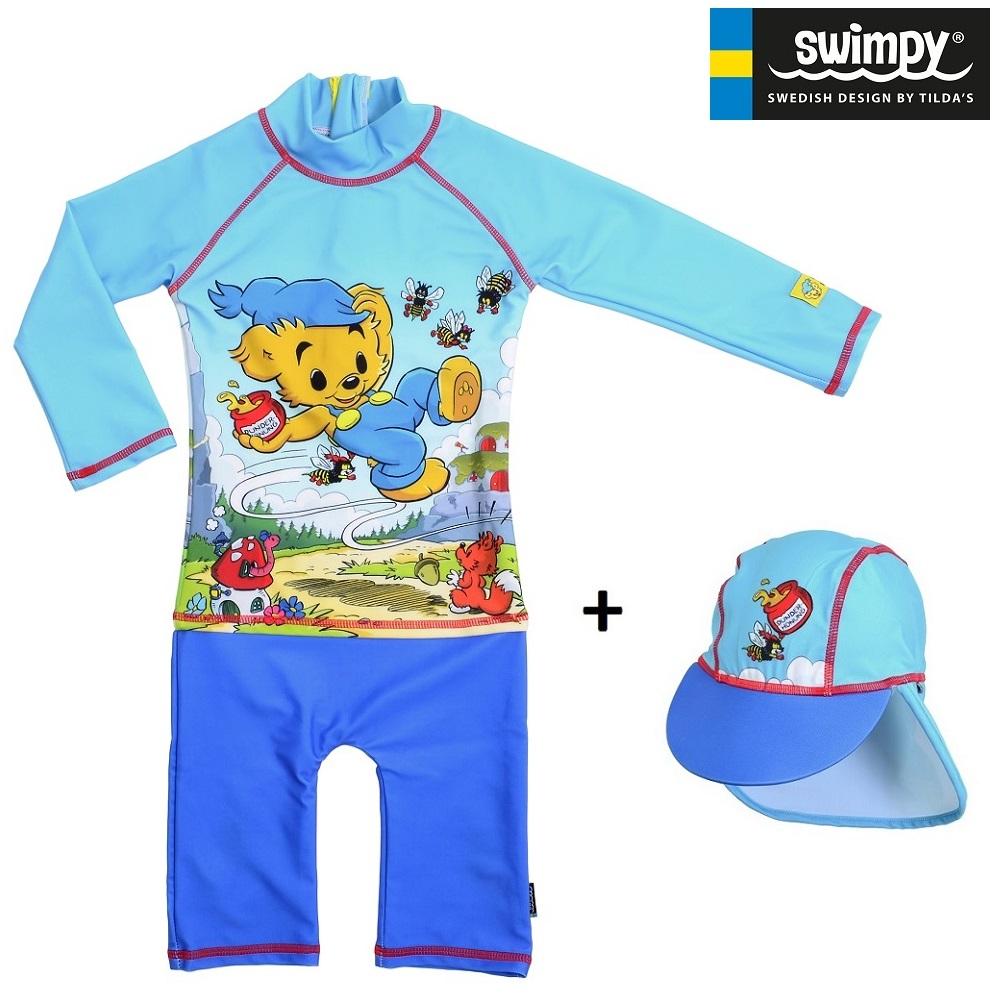 UV-sæt med UV-dragt og UV-hat til børn Swimpy Bamse