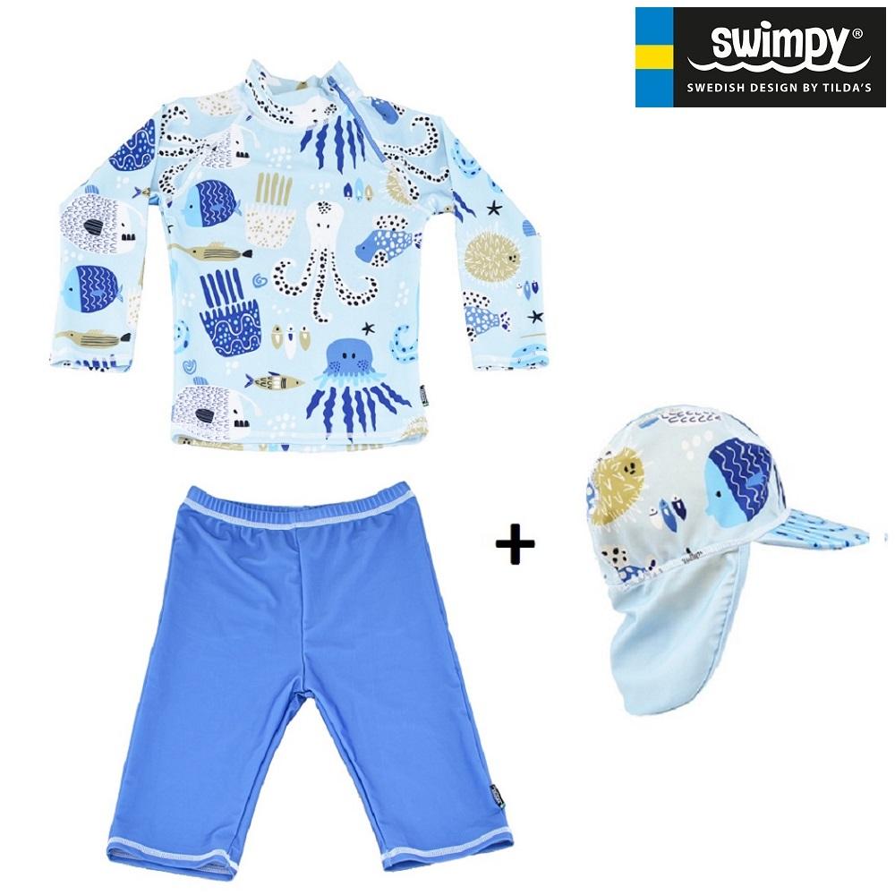 UV-sæt med UV-trøje, UV-short og UV-hat til børn Swimpy Octopus
