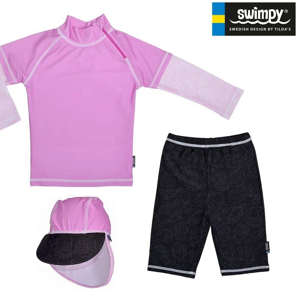 Swimpy UV børnebadetøj UV-Sæt Pink Ocean