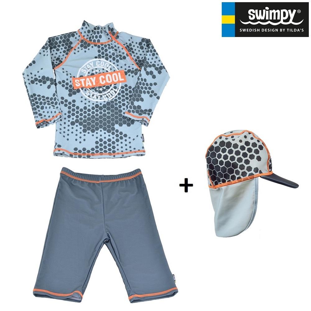 UV-sæt med UV-trøje, UV-short og UV-hat til børn Swimpy Stay Cool