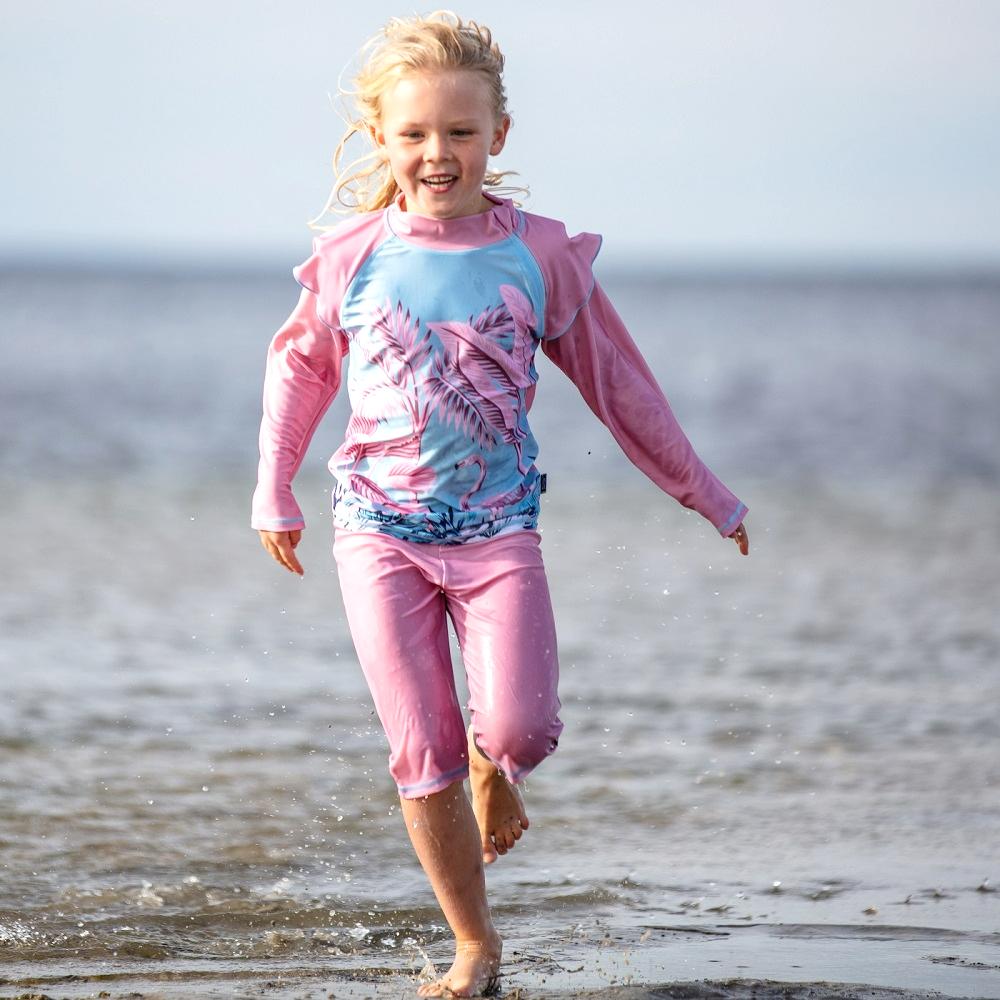 Sæt med UV-trøje og UV-shorts Swimpy Flamingo