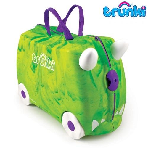 Kuffert til børn Trunki Dino Rex grøn