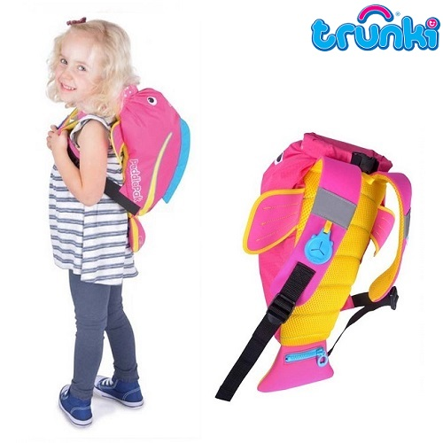 Vandtæt børnerygsæk Trunki PaddlePak Pink Tropical